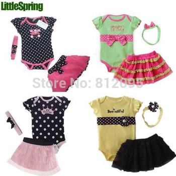 17 Models Baby girl 3 pcs set Baby girls romper+headband+ tutu skirt suits 2014 infant summer Clothing 3pcs Set kids bodysuit