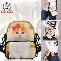 Multifunctional Lovely Cat Bag Cross Body Bag Animal Printed Waist Bag For Girls Small Messenger Bag BBP112W