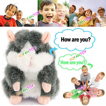 Free Shipping Electronic Pet Hamster Plush Toy Talking Hamster Speaking Toy Animal Repeat Hamster Trolls Policeman