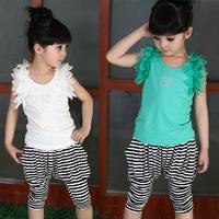 Free shipping New 2013 Summer girls solid sleeveless T-shirt harem vest + striped pants for 110~160cm kids children clothing set