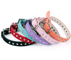 Free shipping 2013 news lefdy genuine leather small dog collars with rhinestones(China (Mainland))