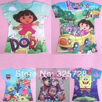 in stock! t shirts for children,babys tshirt kids t shirt cartoon DORA,spongebob, masha and Bear, clothes for girl