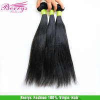 "6A Berrys Malaysian virgin hair straight weaves unprocessed hair 3pcs lot(12""-34"") natural color cheap price  hair products"