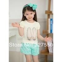 3.25 Promotion! 2 colors 2014 new summer girl set girls cute lace sleeve T-shirt+Rose pants,children clothing 5set/lot GDT-218
