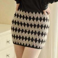 nz022 Free Shopping 1pcs6color Joker Knitted Elastic High Waist Slim Hip Mini Short Skirt pencil skirt can be a clothes to wear