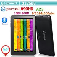 Gooweel A90HD 9 inch HD 1024x600pixs  A23 Dual core Bluetooth tablet pc android 4.2.2 1GB /16GB Dual camera WiFi OTG Big Battery