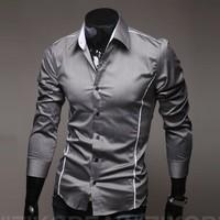 2013 Perfect clipping fashion men shirt men's leisure long-sleeved shirts men M-XXXXL