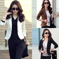 Fashion Women OL Jackets Coat Lapel One Button Long Sleeve Short Suit Blazer Outerwear 5 Colors 16129