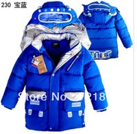 2014 Boys winter  thicker padded cotton down outwear coat windbreak robot children coat long sections down jacket free shipping