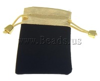 Free shipping!!!Jewelry Drawstring Bags,High Quality Jewelry, Velveteen, Rectangle, black, 70x90mm, 100PCs/Bag, Sold By Bag