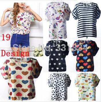 2014 NEW CHIC! Hot Sale Free Shipping Sexy Women Colorful Birds Ruffles Chiffon shirt Batwing Loose Blouse Casual Tops #867(China (Mainland))