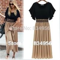 Dress Vestidos New 2014 Fashion Women Clothing Summer dress Pure Cotton Round Collar Splicing Long dress one piece Women Dresses