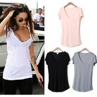 2014 New Fashion Trend Women Ladies Basic V-Neck Short sleeve Loose Cotton Plus Size T-shirt Blouse Tops S M L XL XXL XXXL Shirt