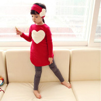 New 2015 love sign baby kids girls clothing sets ( headband + coats + pants ) children outerwear clothes casual girl's suits