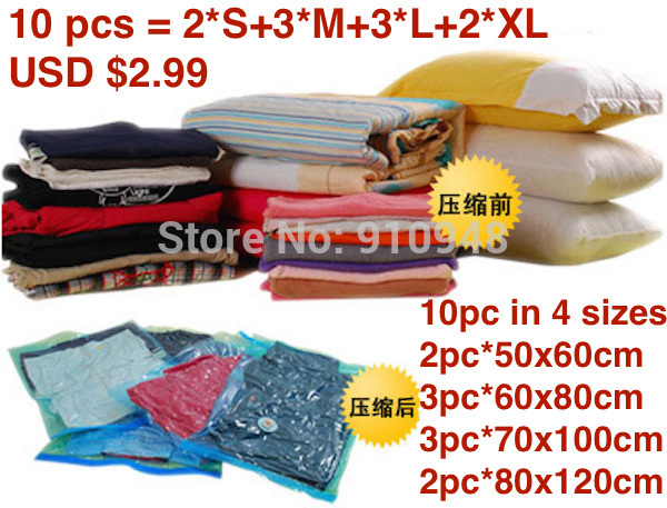 Vacuum Bag, 10 pc, Vacuum Storage Bag, Space saving bag for clothing and bedding,50*60cm,50x60cm(China (Mainland))