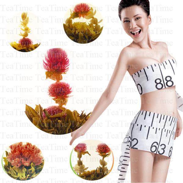 tea with EU quality blooming flower tea10pcs, fruit taste flower teaball, tea flower for holiday gift, herbal slimming tea 10pcs(China (Mainland))