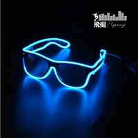 1pcs New ray black el led glasses luminous gift led glasses for parties blue lighting free shipping