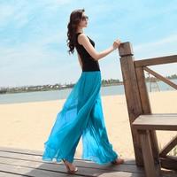 2014 New Fashion Women Chiffon Long Pants Shinning Maxi Long Bohemian Pantskirt With Belt 5 Colors SV000772#006