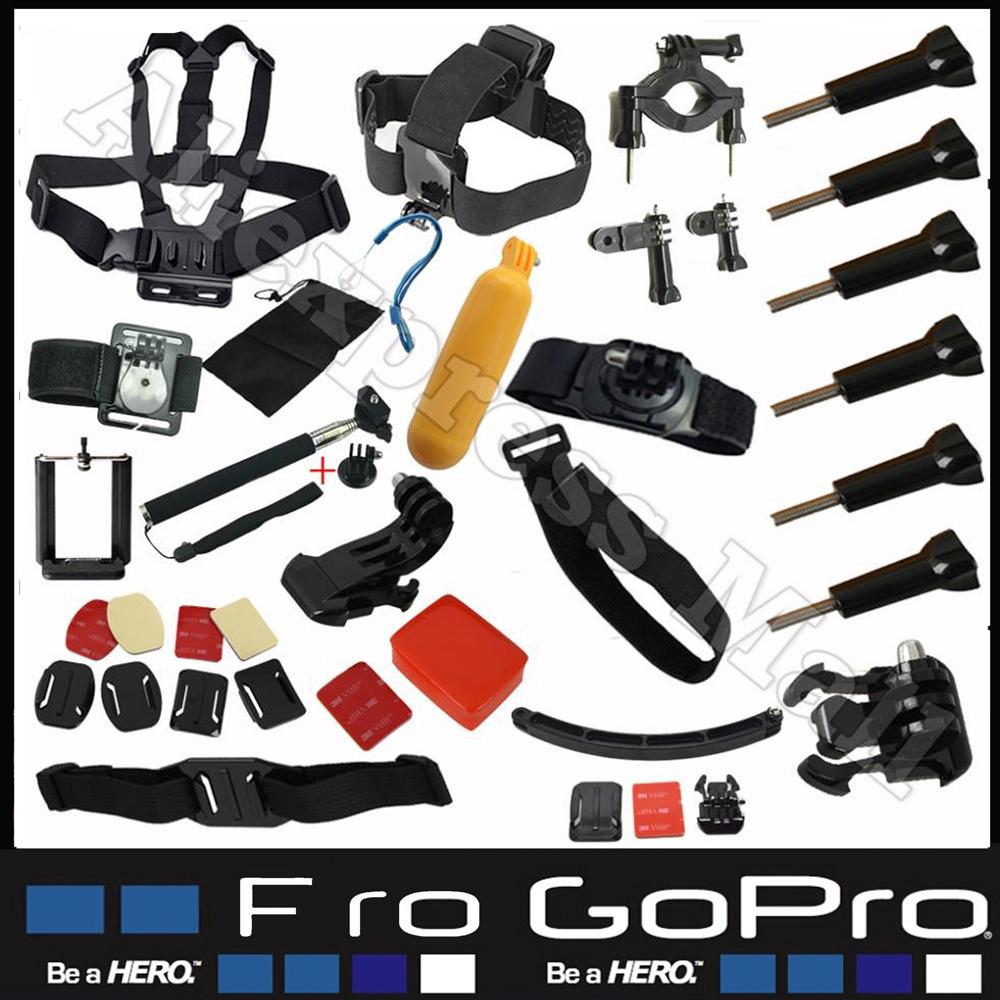 Gopro Hero Accessories Set Helmet Harness Chest Belt Head Mount Strap Monopod Go pro hero3 Hero4 2 3+ Sj4000 Black Edition Kit(China (Mainland))