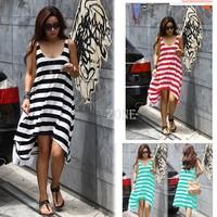 Summer Dress 2014 Women's Girl Casual Stripe Beach Dress Sleeveless Sundress Dresses Women Winter Dress b7 16368