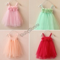 New 2014 Girl Summer Dress for Girls Kids Girl  Sleeveless Princess Tulle Dress Girl TuTu dress 4 Colors 5 Sizes b8 SV000730