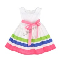 2014 Summer Girl Puffy dress Rainbow striped dress Kids clothing Dancing clothing Princess Ballet Tutu Dress B014 SV002798
