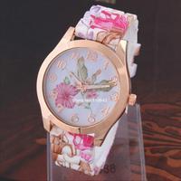 Hot sale New Fashion Geneva watch Silicone Flower Watches For Women Dress Watches Quartz Watches b9 SV005246