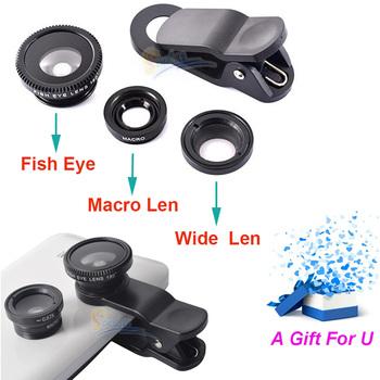 3 в 1 универсальный зажим мобильного телефона объектива для iphone 6 5 4 Samsung I9300 n7100 HTC рыбий глаз + макро + широкий угол универсальным клип объектив