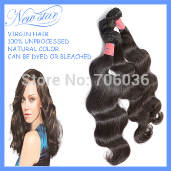 "Mixed lengths 3pcs/lot brazilian virgin hair extensions 100% unprocessed human Body wave 12""-34"" natural color DHL free shipping"