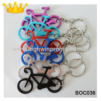 Bike-shaped bottle opener keyring,random colors(500pcs/lot), 58*34mm ,free shipping and customized logo on 1 side