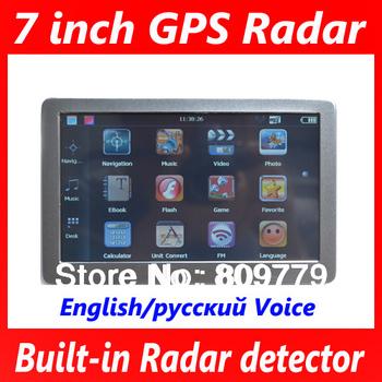 7 inch gps navigation+MTK DDR128M+HD 800x480+FM+ Radar detector with Laser Russian/English Voice+4GB Navitel&1GO free map