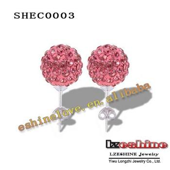 Hot Sale AB Clay Disco Balls (85Pcs)Crystals Fashion Shamballa Earrings Studs Mix Colors Options SHECmix1
