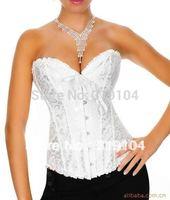 Sexy White wedding corset dress white bridal corset apparel S~XXL wholesale/retail  8111W plus size bustier tops
