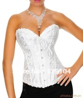 Sexy White wedding corset dress white bridal corset apparel S~XXL wholesale/retail  8111W plus size bustier tops