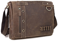 """Genuine Leather Messenger Shoulder Bags Briefcase Mens casual style 13"""" laptop bag  Free shipping 1006"""