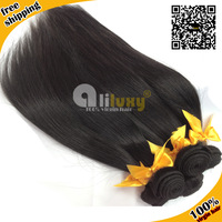 6A Peruvian virgin hair straight  free shipping, 100% human hair extension ,1pc/lot,color 1b#, queen hair 10-32inches