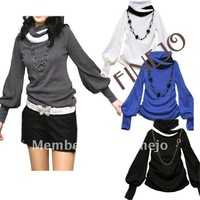 New Fashion casual Ladies Women's shirt Cotton Lantern Sleeve Long sleeve T-shirts Black White Gray Blue free shipping 7114