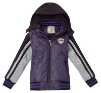 Freeshipping Winter Gray Purple removable hoody hooded cotton Children Boy girl baby Kids Baby down jacket Outerwear LCDS1311