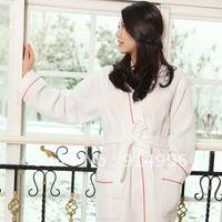 white color 65%cotton 35%polyester  waffle style kimono collar pajamas spa