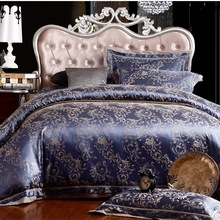 Hot!silk bedding set Queen King size 4pcs Noble Palace Luxury bed linen tribute silk satin jacquard duve