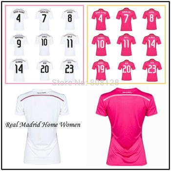 7 RONALDO 10 JAMES 11 BALE Real Madrid 4 SERGIO RAMOS 8 KROOS 23 ISCO 14 15 White Pink Top Thailand quality soccer jersey Shirt