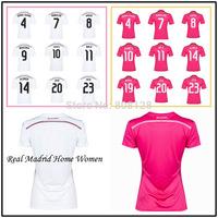 7 RONALDO 10 JAMES 11 BALE Real Madrid Shirt 14 15 White Pink 4 SERGIO RAMOS 8 KROOS 23 ISCO Top Thailand quality soccer jersey