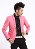 Autumn Spring Stylish Men's One Button Suit Slim Fit Candy Color Blazer Pink Jacket/ Blue White Red Black Grey Jacket Blazer Men