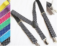 Children Suspenders BOYS GIRLS KIDS Suspenders Clip-on Y-Back Braces Elastic Suspenders ,7 Colorful Dots