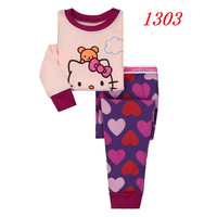 B102 Children Baby Girls Long Sleeve Cartoon T-shirt Pants Pajamas Sets Cotton 2T 3T 4T 5T 6T 7T