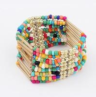 multi color beads bracelet fashion stretch statement bohemian bracelets for women 2013 jewelry wholesale