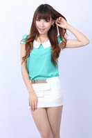 2013 new summer fresh fashion  turn-down collar chiffon blouse short sleeve shirt    K24
