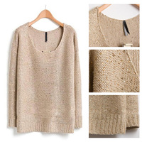 Free Shipping 2013 New Women Autumn Winter Fashion Long Sleeve O Neck Solid Plus Size Knitwear Sequin Pullover Sweater 9914
