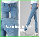 New promotion Women's Jeans pants/High Waist fashion ladies' Pencil Slim pants/Single-breasted Skinny Legging pants XXL trousers(China (Mainland))