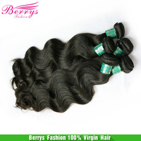 "Berrys Hair Products 4pcs/lot Brazilian Virgin Hair Body Wavy Natural Black Color Mix Length10""-34"" Thick And Soft  Hair Weaves"